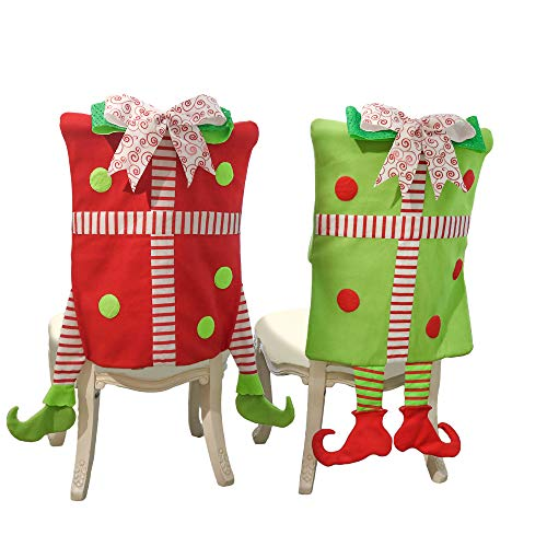 Valery Madelyn 2 Pack Delightful Elf Christmas Chair Covers, Chair Back Covers for Dinning or Kitchen Decorations (Decorations Christmas Whimsical)