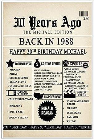 30 cumpleaños periódico Nacido en 1988 Stats Metal Sign Back to School: Amazon.es: Hogar