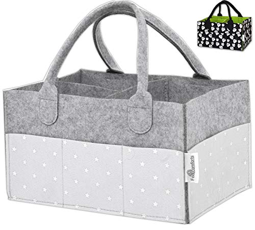 (Baby Diaper Caddy Organizer – Stars, Excellent for All Diaper Sizes, Wipes, Nursery Storage Bins, Baby Travel, Changing Tables and Toys - Exclusive Baby Shower Gift)
