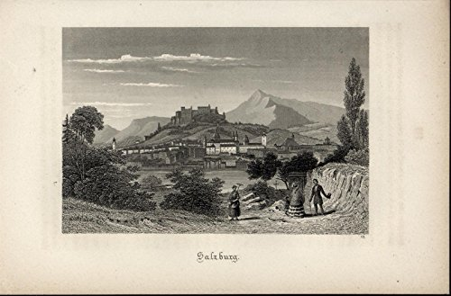 Salzburg Austria Castle Mountains Townspeople 1871 nice antique view print