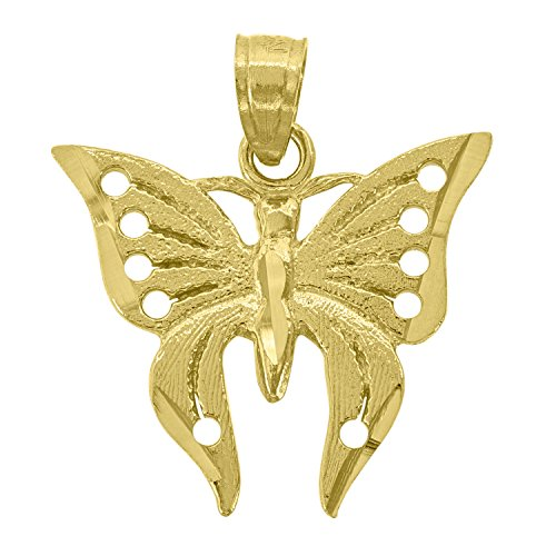 14kt Yellow Gold Womens DC Butterfly Insect Pendant Charm