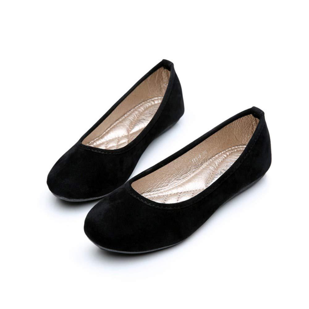 FLYRCX FLYRCX FLYRCX Boca Baja, cómodo, Suave, Suave, Fondo, Simple, Moda, Ante, Zapatos Planos, Solo, Zapatos, señoras, Trabajo, Zapatos, Maternidad, Zapatos, 35, UE, Negro afa528