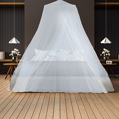 Polyester Mosquito Netting (Mosquito Netting– Keeps Away Insects & Flies – Perfect For Indoors And Outdoors, Playgrounds, Fits Most Size Beds, Cribs - Conical Design, Including Hanging Parts and a FREE Carry Bag To Carry Along)