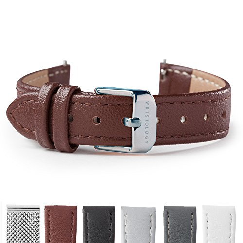 WRISTOLOGY Silver 14mm Womens Easy Interchangeable Leather Stitched Watch Band (Brown)