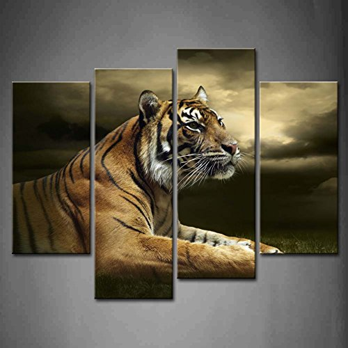 4 Panel Wall Art Tiger Looking And Sitting Under Dramatic Sky With Clouds Painting Pictures Print On Canvas Animal The Picture For Home Modern Decoration piece Stretched By Wooden Frame,Ready To Hang Tiger Wall Art Painting