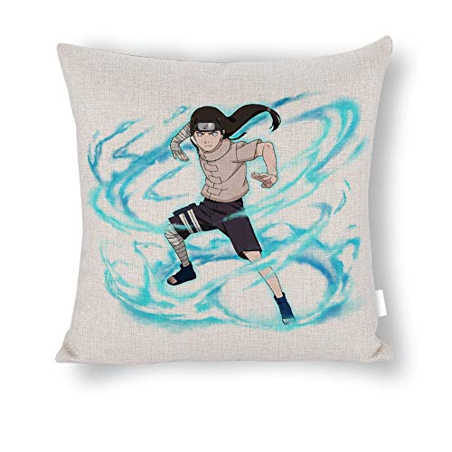 ZWCSM Naruto Pillow Covers Set of 2, Soft Decorative Neji Hyuga Naruto Ninja Blue Lightning Storm Cotton and Linen Throw Pillow Covers Cushion Covers for Sofa Bedroom Car, 20''x20''