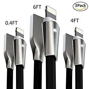 Aimus Lightning Cable iPhone Charger 3Pack Fast Charging Cables W/ LED Light Lightning to USB Charging Cord for iPhone X/8/8 Plus/7/7 Plus/6/6 Plus/5/5S/5C/SE, iPad Air iPod - 0.4FT+4FT+6FT (Black)
