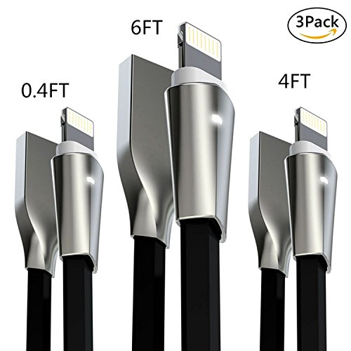 Aimus Lightning Cable W/ LED Light Zinc Alloyed Connector [0.4FT+4FT+6FT] 3PACK Extra Long USB Charging Cord for iPhone Charger X/8/8 Plus/7/7 Plus/6/6 Plus/5/5S/5C/SE, iPad Air iPod (Black)
