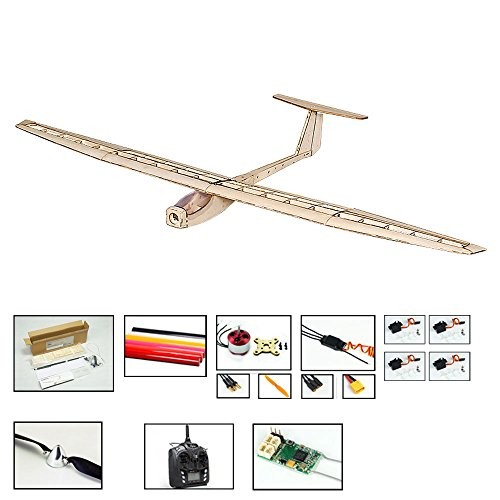 (Balsa Wood Radio Remote Controlled Electric Glider Griffin Aeroplane Laser Cut Kit Wingspan 1550mm Un-Assembled for Adults;Need to Build by DW Hobby (F1504C-R3))
