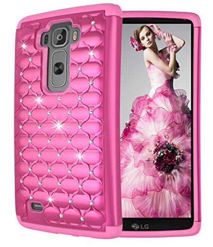 LG G Flex 2 Case, Style4U G Flex 2 Studded Rhinestone Crystal Bling Hybrid Armor Case Cover for LG G Flex 2 (2015 Release) with 1 Stylus [Hot Pink / Hot Pink]