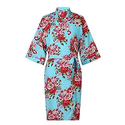 ellenwell Girl's Cotton Floral Kimono Flower Girl Getting Ready Robe for Wedding
