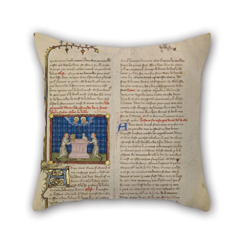 Oil Painting Master Of Jean De Mandeville (French, Active 1350 - 1370) - Cain And Abel Offering Gifts Cushion Covers Best For Kitchen Couch Husband Birthday Son Kids Girls 18 X 18 Inches / 45 By (Cain Kitchen Stool)