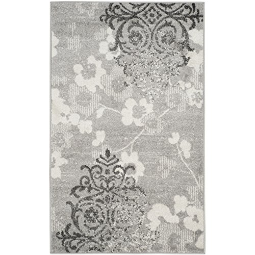 - Safavieh Adirondack Collection ADR114B Silver and Ivory Contemporary Chic Damask Area Rug (2'6