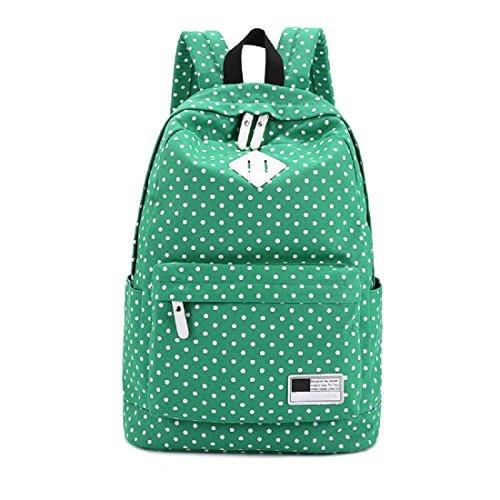Tongshi Hombro de la lona Mochila Polka Dot Escuela recorrido del bolso Mochilas (Verde) Verde