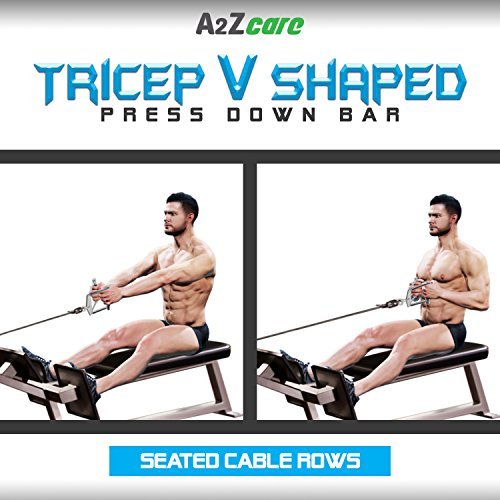 A2ZCARE Combo Tricep Press Down Cable Attachment | Multi-Option: Double D Handle, V-Shaped Bar, Tricep Rope, Rotating Straight Bar (V Handle+Tricep Rope+Rotating Bar+V-Shaped Bar) by A2ZCARE (Image #6)