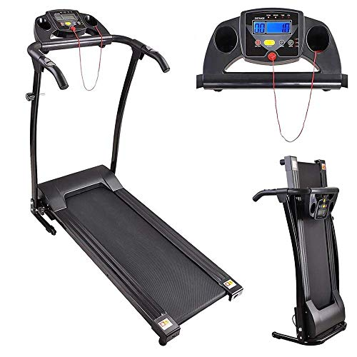 Eastech Folding Electric Treadmill Motorized Running Machine LCD Display Heart Rate Calorie Speed | Heavy Duty 1100W Support 220Lbs 1-10Km/h 3 Built-in Workout Program | for Home Gym Fitness Exercise