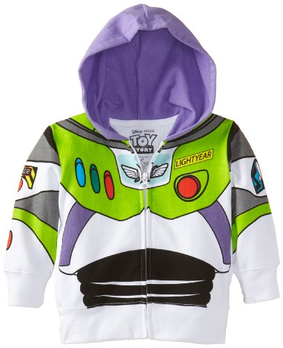 Disney Little Boys' Buzz Lightyear Hoody Toddler, White, 4T]()