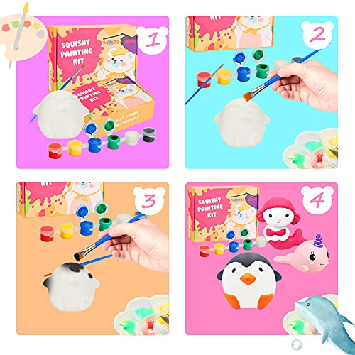 LovesTown Squishy Making Kit, 5 PCS DIY Squishies Ocean Animal Squishies Slow Rising Jumbo Animal Paint Your Own Squishies for Birthday Gifts