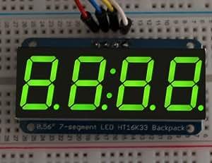 AdaFruit pantalla 4dígitos 7segmentos con I2°C mochila para Arduino–verde