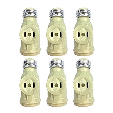 Shanhai 2 PCS of E26 to E26 lamp Socket Adapter with Two Outlet Screw Light Holder for bulb, White (Pull Chain Switch)
