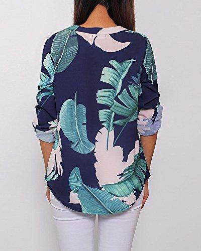 Fleur Longues Femme Blouse Shirt Mode Casual B T Minetom D't Imprim Chic V Lache Bleu Chemisier Col Manches Tops Hauts RdAwqp0