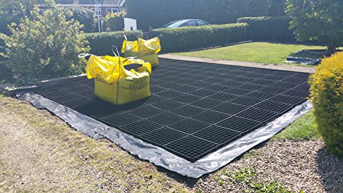 GARDEN SHED BASE GRID 2M X 1.5M SUITS 6X5 – 6X4 SHEDS & 7X5 FEET SHEDS = FULL ECO KIT + HEAVY DUTY MEMBRANE – PLASTIC ECO PAVING SLAB BASES & DRIVEWAY GRIDS