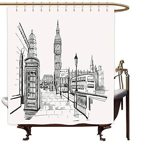 MaryMunger Kids Bathroom Shower Curtain Modern London City with Big Ben Monument Scene in Sketch Style British Famous Town Artwork Metal Build W48x84L Beige Black -