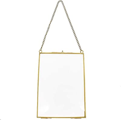 Towashine Antique Brass Hanging Glass Photo Frame Wall Decor with Chain 5x7 Inch