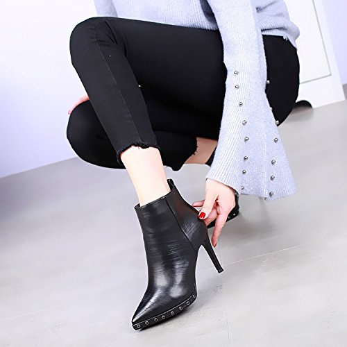 KHSKX Boot Heel All Match Rivet Martin Black Shoes Boots New High Boots Heel Sexy Waterproof 1rqFf1w
