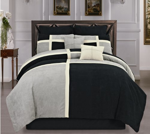 Hudson Suede Bedding - Hudson Street Soft Micro suede Black Grey & Patchwork Duvet Cover Set, Full, 8 Piece