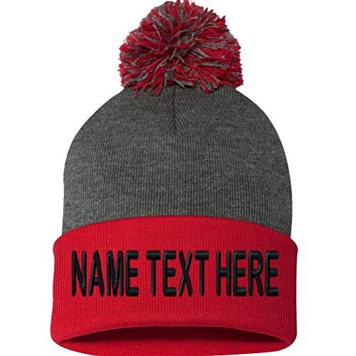 Custom Embroidery Beanie Personalized Text Ski Knit Pom Cuffed Hat - Heather Charcoal Red