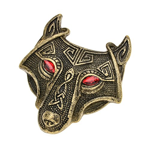 - W WOOGGE Viking Norse Wolf Head Brooch Pin Red Eye Gothic Pendant Irish Viking Penannular Clothes Fasteners Scarf Lapel Pin