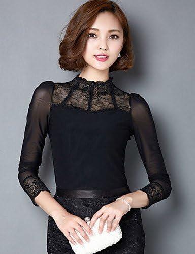 Mujer Camisa Blusa elegante mujer Blusa – Camiseta de mujer – Camiseta de mujer – Rejilla Nylon manga larga cuello alto, color Negro - negro, tamaño XL: Amazon.es: Deportes y aire libre
