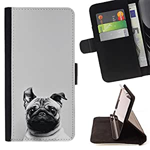 Dragon Case- Caja de la carpeta del caso en folio de cuero del tir¨®n de la cubierta protectora Shell FOR Apple iPhone 6 6S 4.7 - Pug Dog PUPPY Pet