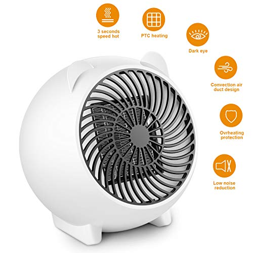 Cheap 250W Low Noise Mini Portable Desk Space Heater Fan with Overheat Protection, Instant Warm Quiet Heater Fan for Table, Small Room, Home, Bedroom, Office