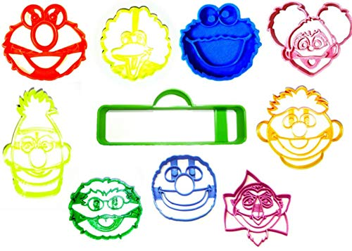 SESAME STREET CHARACTER FACE MUPPET ELMO COOKIE MONSTER GROVER OSCAR ABBY BIG BIRD BERT ERNIE COUNT SIGN SET OF 10 SPECIAL OCCASION COOKIE CUTTER BAKING TOOL 3D PRINTED MADE IN USA PR1176