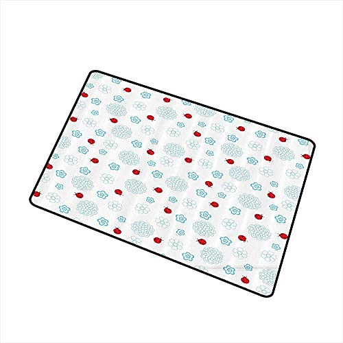 Axbkl Stylish Commercial Grade Entry pad Ladybugs Decorations Collection Ladybugs Flowers Summer Garden Insect Clipart Decorative Symmetry Image Print W16 xL20 with Anti-Slip Support Red Blue White ()