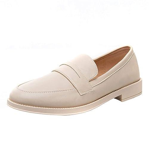 Mocasines Zapatos Solos Femeninos Salvajes Universitarios Viento Zapatos Pequeños Viento Británico Plano, 35, Beige