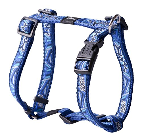 Premium Pattern Ribbon Designer Adjustable Dog H Harness for Medium Dogs; matching collar and leash available, Navy Zen Fresh Spring Design