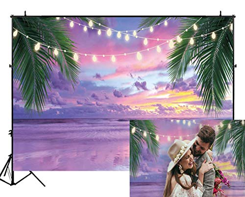 Funnytree 7X5FT Summer Tropical Purple Sea Beach Backdrop Photography Sunset Hawaiian Seaside Ocean Palm Lights Background for Wedding Birthday Party Banner Baby Shower Photo Studio Photobooth Props]()