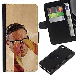 KingStore / Leather Etui en cuir / Apple Iphone 6 / Retrato Gafas Psychedelic Art Colores Hombre Cara