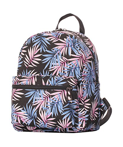 Veenajo Small Lightweight Canvas Backpack Casual Daypack Ipad backpack for Women Girls Teens Kids(Leaf (Studded Dark Wash)