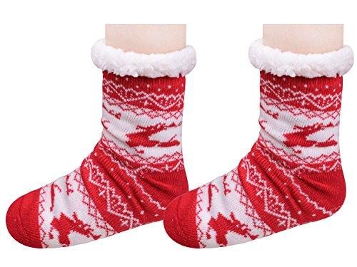 Pantofole Sfilate Di Natale Calde Pantofole Da Camera Da Letto Calzini Antiscivolo Per Le Donne Rosse