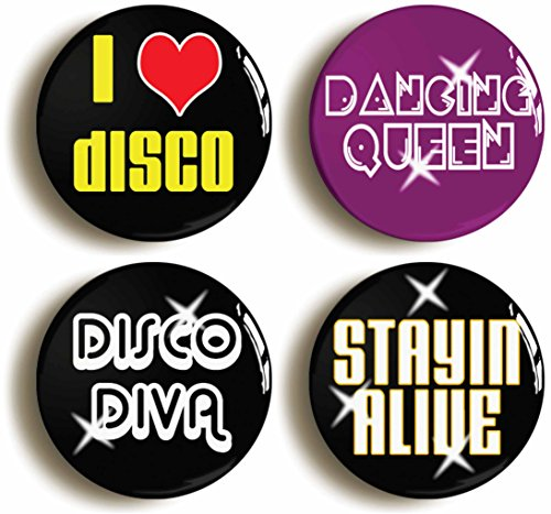 Seventies Disco Button Pin Set (Size Is 1inch Diameter) 1970s Costume Party