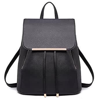Miss Lulu Women Backpacks Ladies PU Leather Fashion Shoulder Bag Girls School Bags Drawstring Daypack Travel Rucksack (Black 1669)