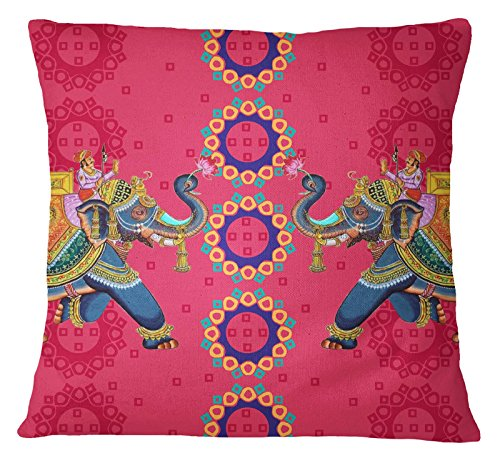 S4Sassy Mughal Elephant Print Pillow Square Cushion Cover Multicolor Home Decorative -26 x 26 ()