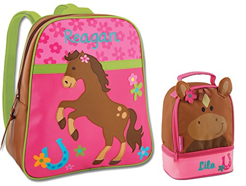 Personalized Horse Back to School Backpack Bundle (2 items) with Embroidered Names