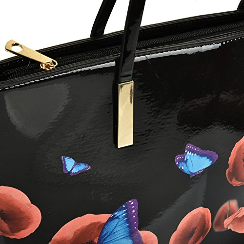 Shoulder Sally Handbag Fashion Black Young Shopper Look Leather Butterfly Large w7x4UwPqZ