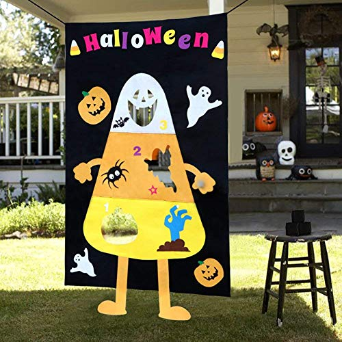 HLovebuy Halloween Toss Game,Hanging Felt Bean Bag Toss Game Outdoor with 3pcs Bean Bags for Kids Party Halloween Decorations]()