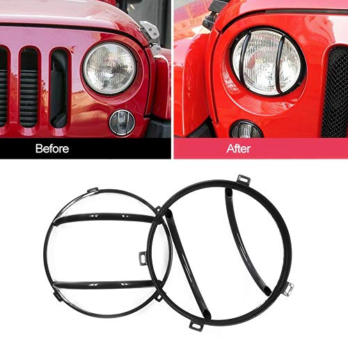 DEF Black Headlights Guard Covers for 2007-2017 Jeep Wrangler & Wrangler JK Unlimited 2 Door & 4 Door (Black)